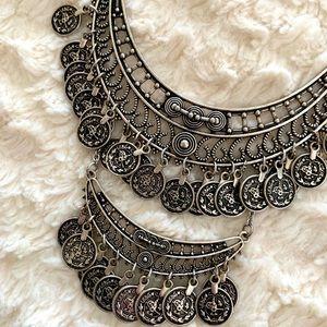 Bohemian Double Tier Coin Necklace Silver
